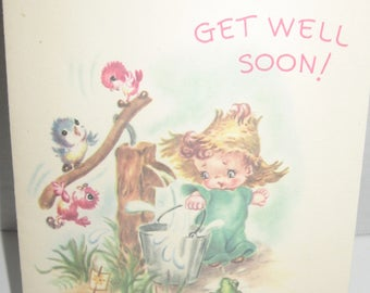 Get Well Soon greeting card. Vintage. Unused. Made USA. Vintage greeting card fun to send great craft. Harry Doehla Company