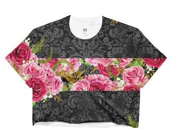 Modern Floral Print Roses Red Ladies Crop Top Hip Trendy