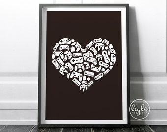 Gamer Print - Controllers | A6/A5/A4/A3 Illustration Print | Gaming Poster | For Him, For Her