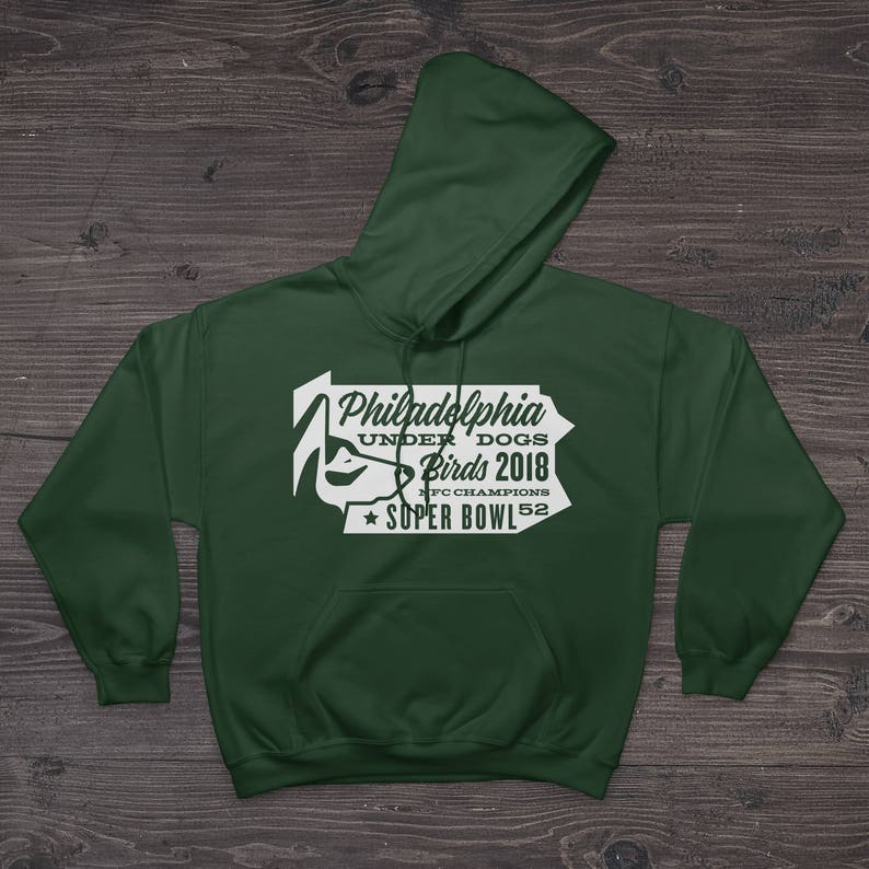 release date: 04338 3e305 Philadelphia Eagles Football Underdog Super Bowl Fan Hoodies 50/50  Cotton-Poly Blend (PA State)