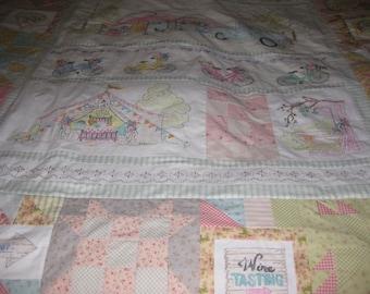 Hand Embroidered Girls Getaway Quilt