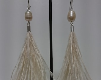 Pearl and Ostrich Feather Earrings