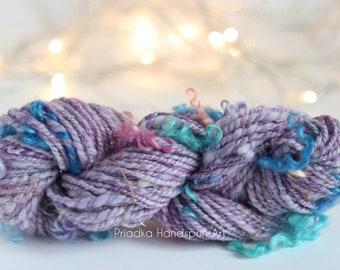 fractal merino woolsilk blend Handspun Art Yarn Weaving Knitting yarn 2ply sockfingering weight
