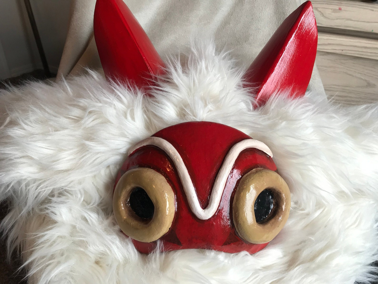 Princess Mononoke Mask Ears Fur Sets Studio Ghibli San Costume