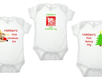 Babies 1st Christmas vest, personalised christmas vest, baby clothing