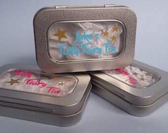 Tooth Fairy tin, personalised, First tooth