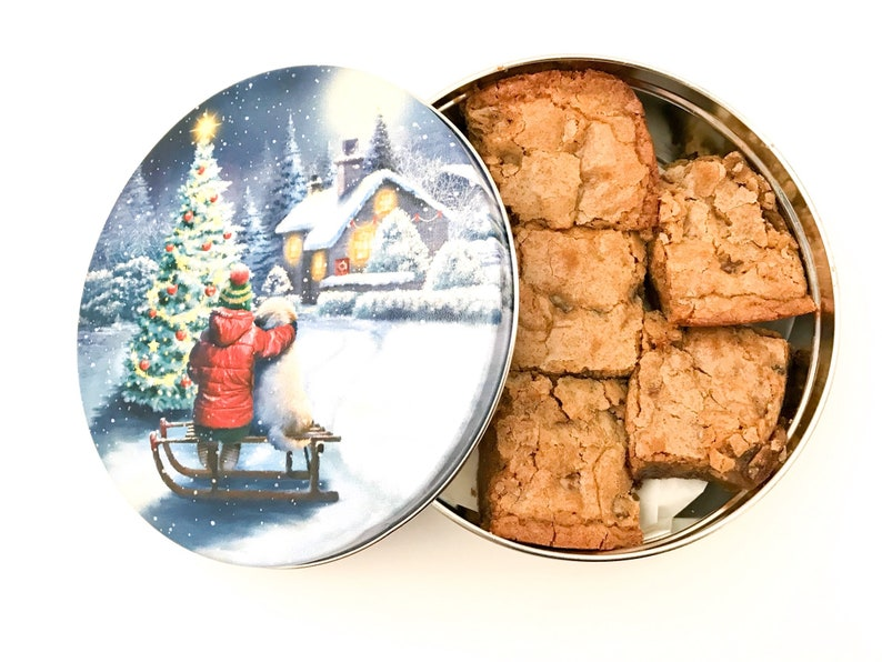 Blondies / Congo Bars in a Christmas Cookie Tin Nut Free image 0