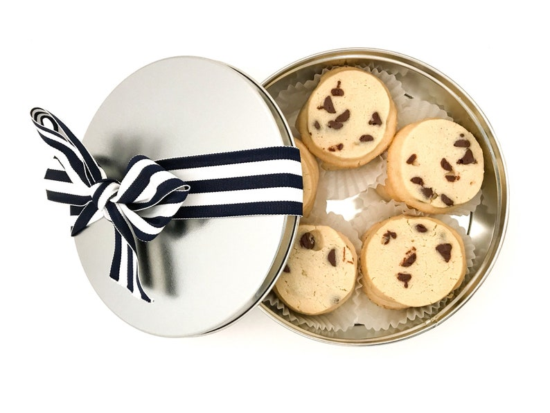 Chocolate Chip Spritz Cookies in a Cookie Tin Nut Free Butter image 0
