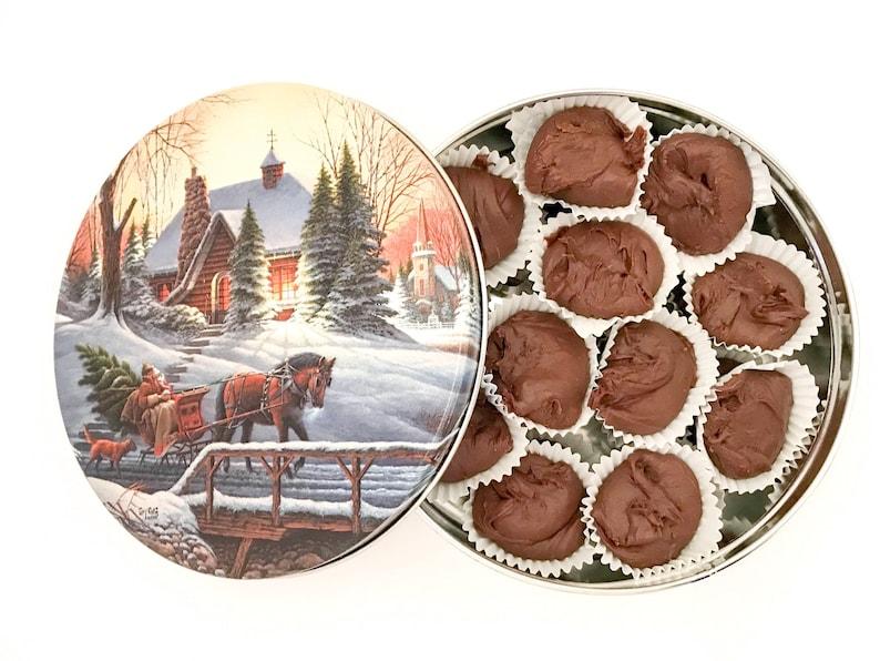 Chocolate Fudge in a Christmas Tin Nut Free Chocolate Fudge image 0