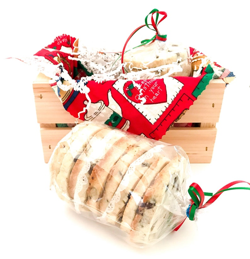 Chocolate Chip Spritz Christmas Cookies Small Wooden Crate image 0