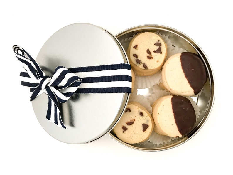 Assorted Spritz Cookies in a Cookie Tin Nut Free Butter image 0