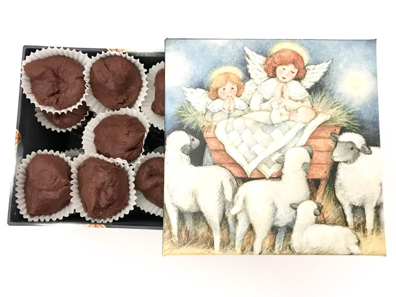 Chocolate Fudge in a Nativity Tin Infant Jesus Manger Box image 0