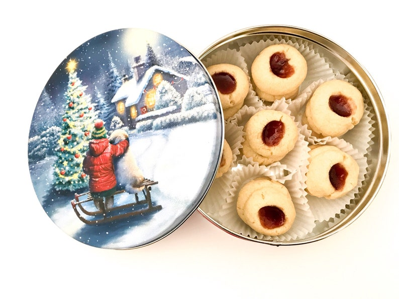 Raspberry Thumbprint Cookies in a Christmas Cookie Tin Cookie image 0