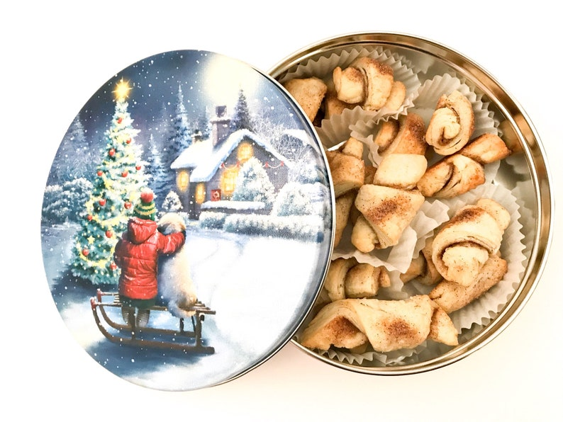 Rugelach Cookies in a Christmas Cookie Tin Cookie Care image 0