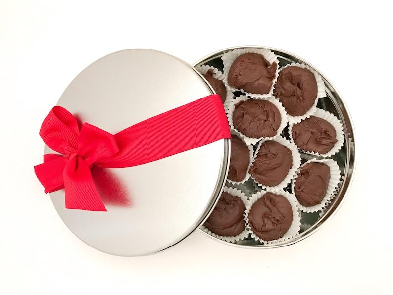 Rich Chocolate Fudge in a Tin Nut Free Chocolate Fudge image 0