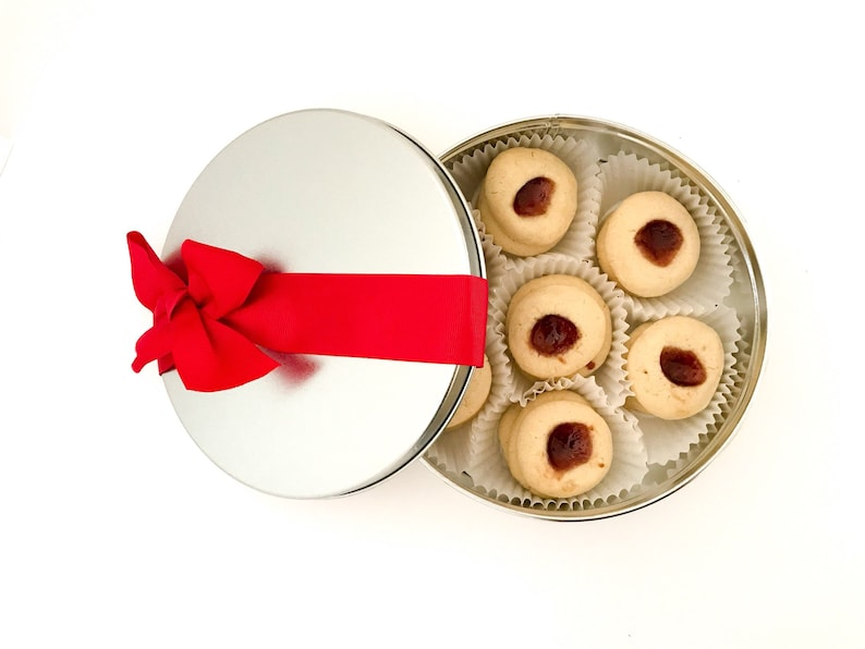 Raspberry Thumbprint Cookies in a Cookie Tin Nut Free image 0