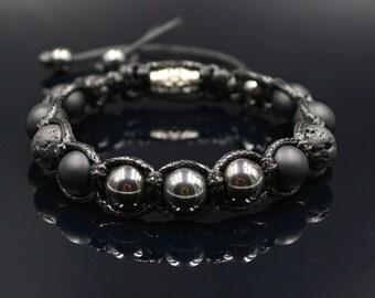 Men's Bracelet Shamballa Bracelet Hematite Bracelet Gemstone Beaded Bracelet Onyx Bracelet Black Lava Bracelet Lava Stone Bracelet Macrame
