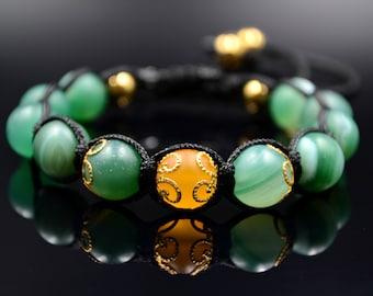 Women's Macrame Bracelet Green Agate Bracelet Beaded Bracelet Gemstone Bracelet Gift for Her Hematite Bracelet Agate Bead Bracelet