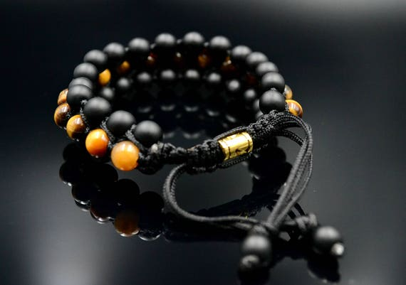 Men/'s Matte Tiger/'s Eye 3 Rows Bracelet Wide Macrame Bracelet Onyx Bracelet Gift for Men Black Lava Bracelet Adjustable Gemstone Bracelet