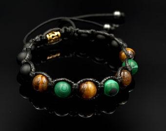 Men's Beaded Bracelet Tiger's Eye Bracelet Malachite Bracelet Gemstone Shamballa Bracelet Gift for Men Macrame Bracelet Herren Armband