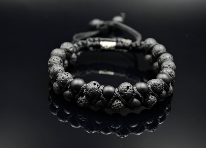 Herren Männer Armband handgefertigt Edelsteine Vulkanstein//Lava /& Onyx matt