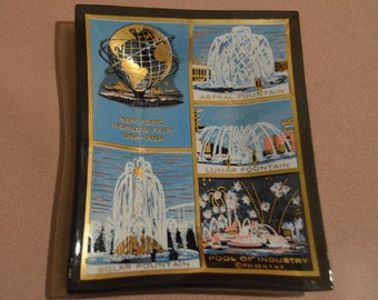 New York World's Fair 1964-1965 smoked glass trinket dish