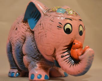Vintage Pink Ceramic Elephant with Redbird Coin Bank