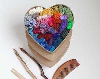 Rainbow Yarn Box   Heart Shaped Fibre Pack, Yarn Bundle, Acrylic Yarn, Mixed Fibres, Gift Box