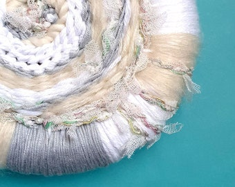Snow Wall Art   Mini Round Weavings, Weaving Collection, Fibre Art, Gallery Wall