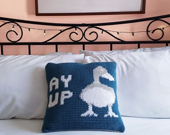 Crochet Pattern   Colourwork Ay Up Duck Cushion Cover, Intarsia Crochet, Tapestry Crochet, PDF