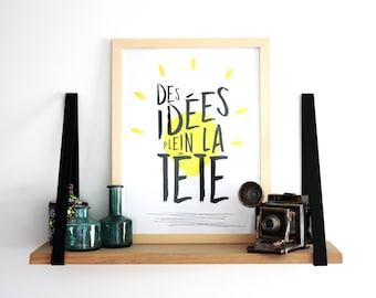 "Poster ""full ideas"", 30 x 40, decoration, phrase, illustration, typography"