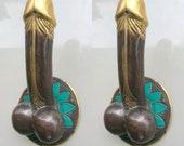 2 PENIS 23 cm shape DOOR PULL or hook hand made solid brass 9 quot handle heavy Phallus cabinet balls erect bronze look