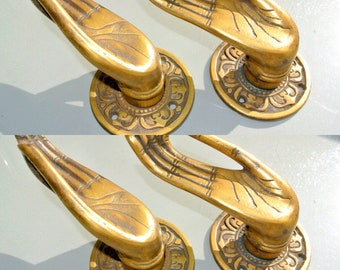 Antiques Antique Finish Buddha Hand Brass Door Handle Vintage Style Knob Pull Home Art In Many Styles
