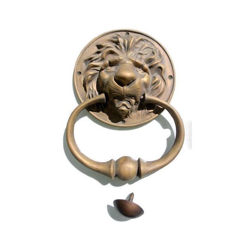 VINTAGE ANTIQUE STYLE HAND MADE GOLD COLOR SOLID BRASS LION DOOR KNOCKER