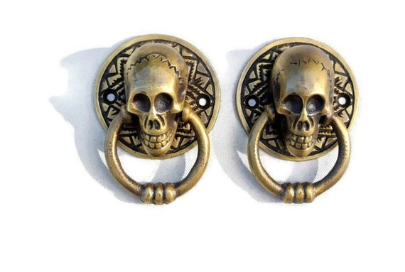 """SKULL head and JAW heavy front Door Knocker SOLID 100/% BRASS day of the dead 8/"""""""