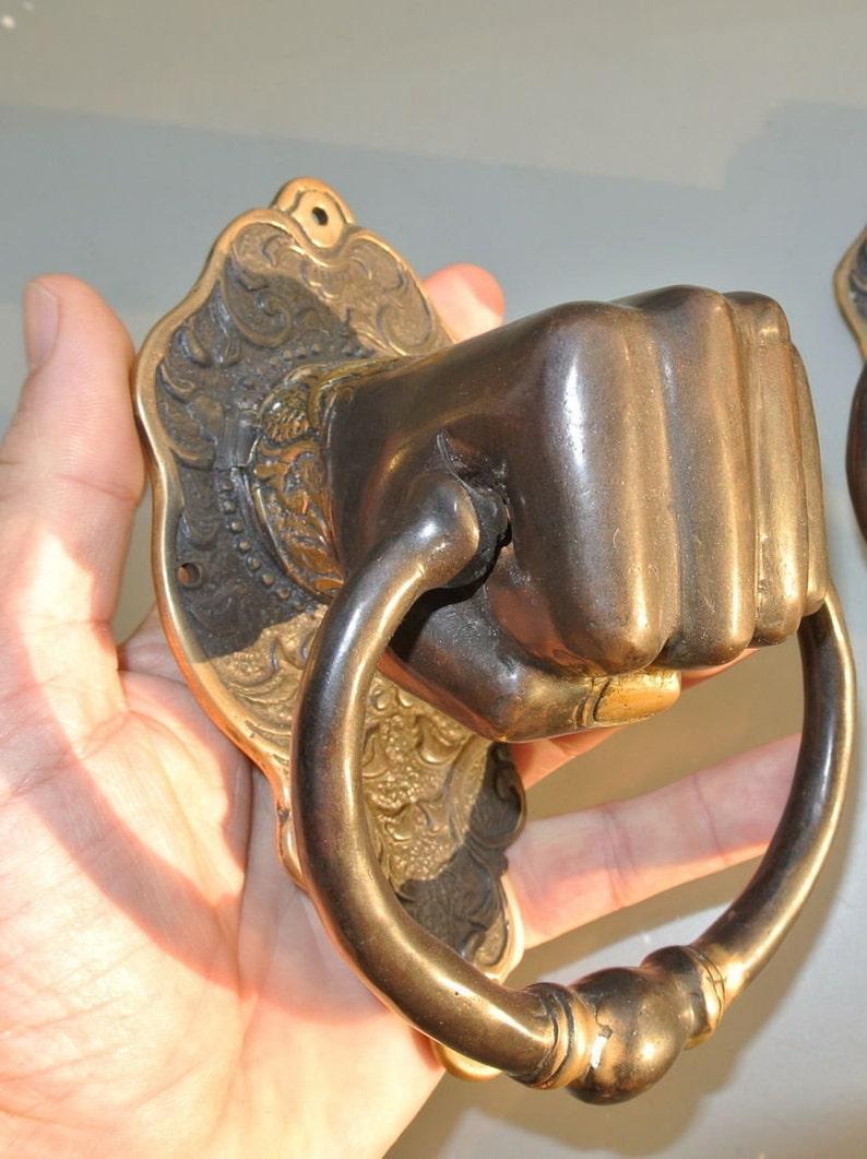 Solid Brass hollow fist hand Door Knocker PULL HANDLE ring 7 aged old look very heavy vintage antique style barn door bronze patina