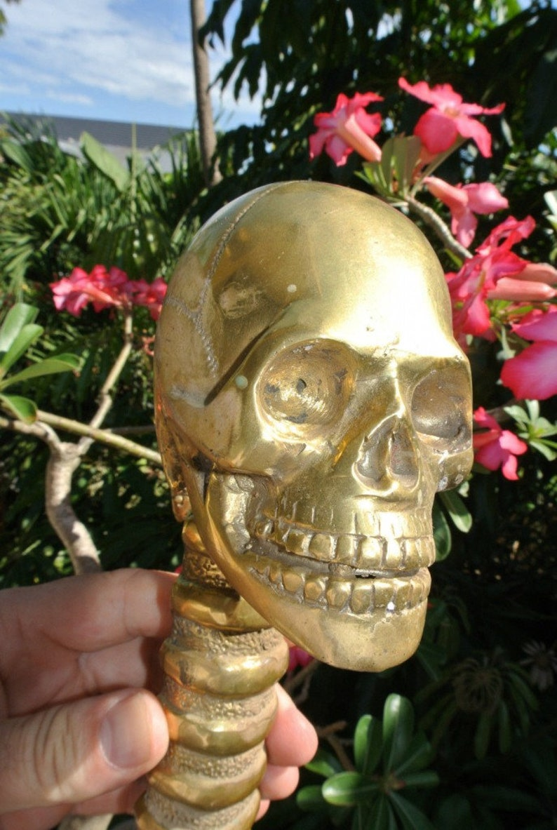 large 32 cm SKULL handle door pull spine pure brass old style natural polished brass  13 long heavy day of the dead grab door spine gothic