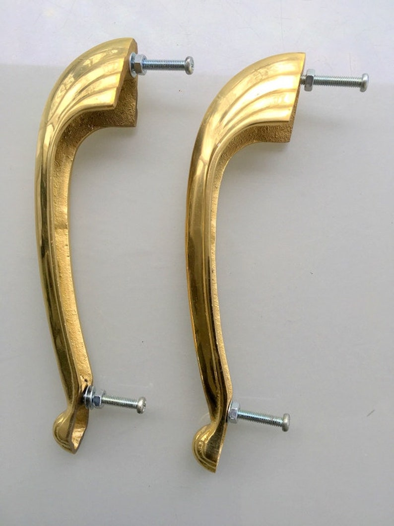 2 heavy pulls handles 16.5 cm DOOR antique solid heavy brass vintage DECO old replace drawer heavy polished kitchens cabinets D pull