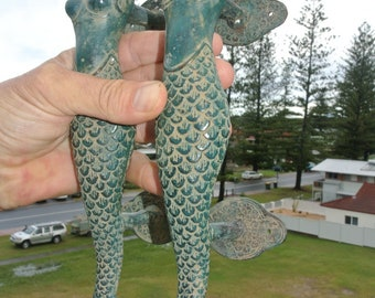 "2 medium size MERMAID seaside green brass door PULL old style look heavy house PULL handle 13"" aged"