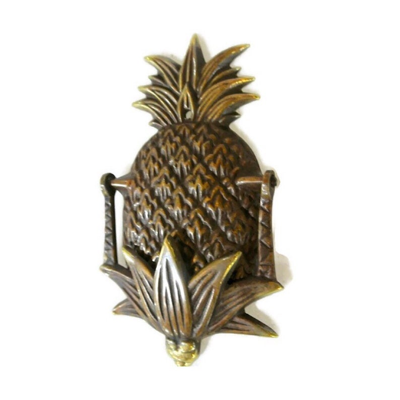 large heavy PINEAPPLE Door Knocker SOLID  100 /% Brass old style house banger B