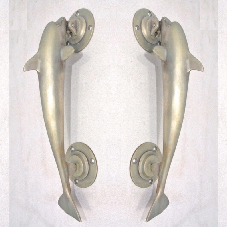 2 SILVER plated medium DOLPHIN handle door PULL 30 cm 12  solid pure brass hollow old aged style vintage style sea side beach