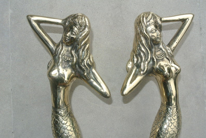 """skinny 34cm MERMAID door handle 13/"""" solid brass door PULL aged green patina B"""