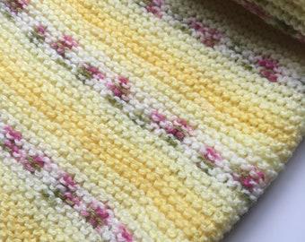 Hand knitted lemon stripe baby blanket