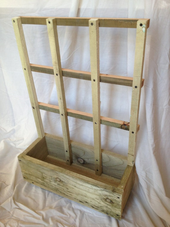 Small Hand Made Wooden Garden Planter With Trellis Etsy