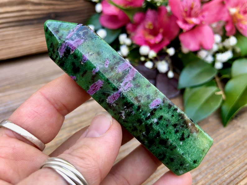 Ruby in Zoisite Crystal Point