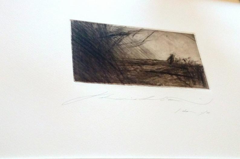 Art print chalcographic drypoint landscape #009