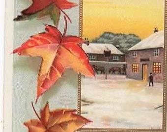 Ellen H CLAPSADDLE, Vintage Artist Signed Postcard, Best CHRISTMAS Wishes, Snowy Village, Autumn Leaves,International Art Pub, c1910