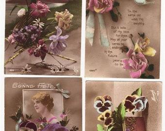 "Vintage WW1 FRENCH Postcards, Glamour & Flowers, All from same Soldier ""HAROLD"",  Lot of 4 Cards"