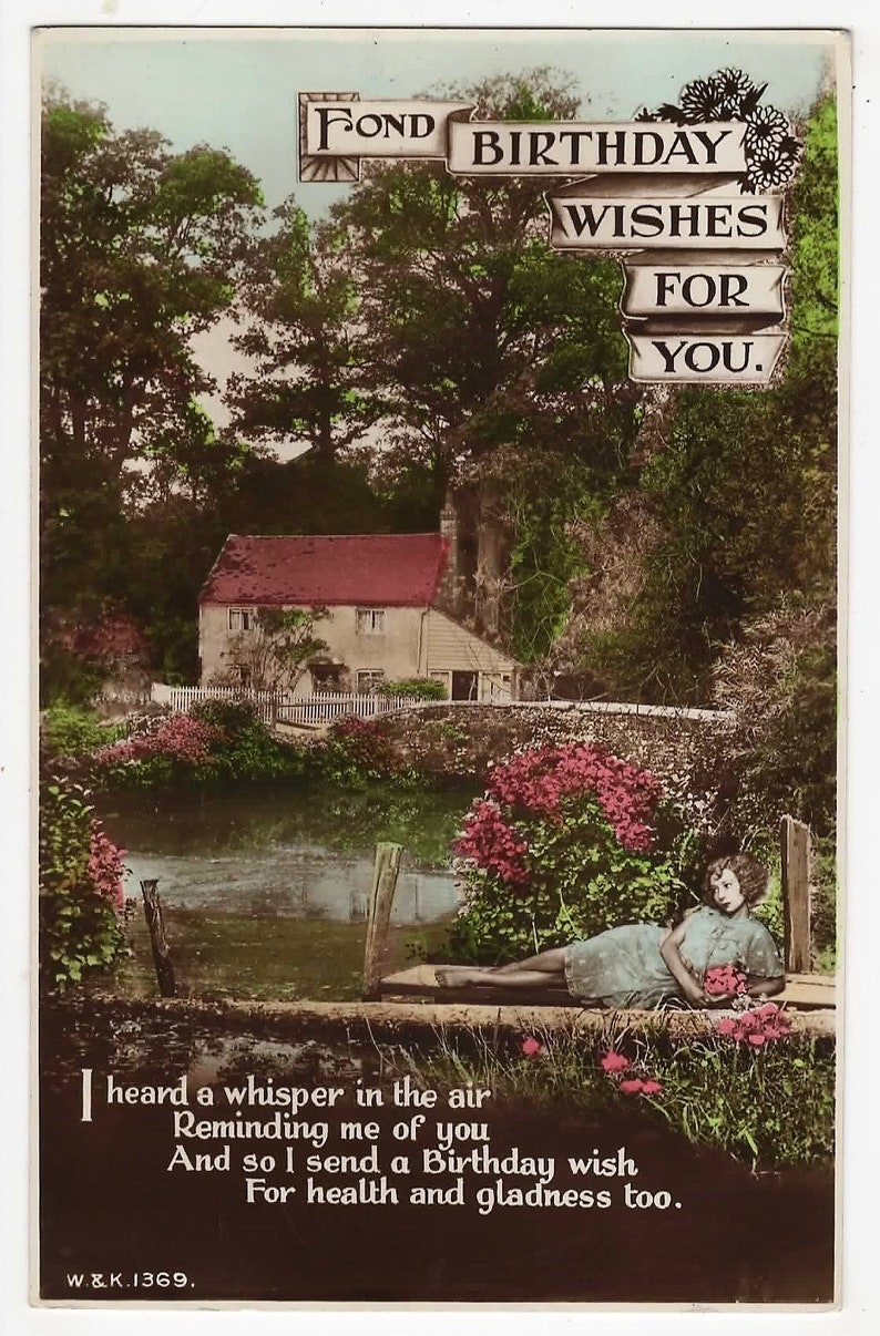 River Vintage RP Postcard Bridge COTTAGE 1932 GLAMOUROUS Woman