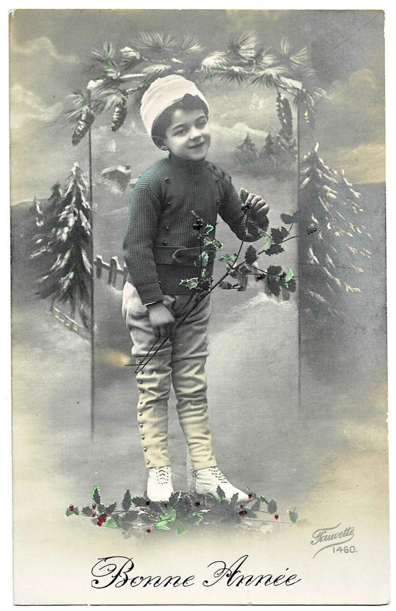 cWW1 Winter FASHION Vintage FRENCH Real Photo Postcard Holly Bonne Annee Sweet Little BOY